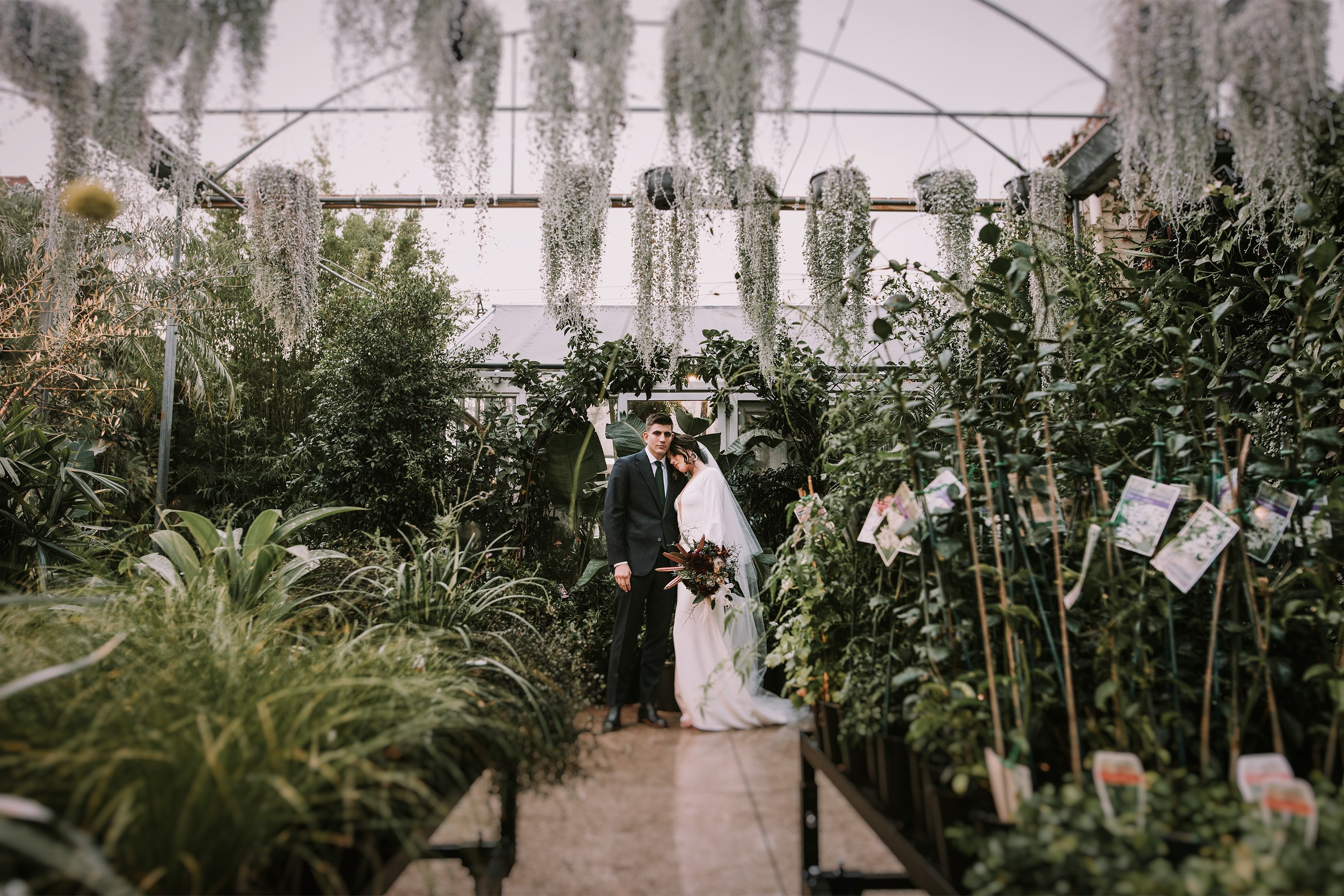 Bride and groom at Glasshaus Nursery, Richmond, Victoria